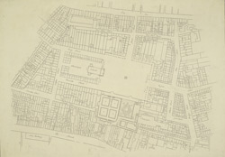[A drawn plan of the parish of St Paul's showing Old Bedford House in the Strand and Covent Garden]
